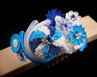 Shiori - Ocean Wave Kusudama Bouquet Headpiece, Daisy, Tsumami Zaiku Kanzashi, Beach Wedding, Marine, Whirlpool, Sea, Geisha, Japanese Craft