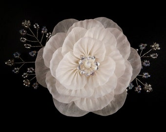 Aurora - Bridal Hair Ornament, Made to Order, Tsumami Zaiku, Kanzashi, Japanese Craft, Boho Hair, Woodland Wedding, Peony, Mother of Pearl