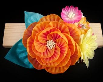 Akari - Large Fiery Peony Bouquet Headpiece, Tsumami Zaiku Kanzashi, Hellebore, Aster, Boho, Woodland Wedding, Geisha, Japanese Craft