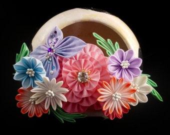 Ayano - Floral Hair Ornament 3-Piece Set, Tsumami Zaiku Kanzashi, Peony, Butterfly, Aster, Boho Woodland Wedding, Garden Tea Party, Geisha