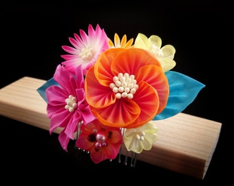 Akira - Orange & Pink Woodland Bouquet Headpiece, Avens, Hellebore, Aster, Tsumami Zaiku Kanzashi, Boho, Garden, Wedding, Geisha, Japanese