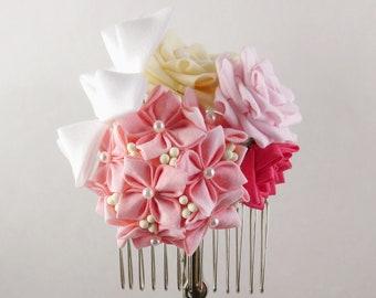 Hydrangea Lily Rose Bouquet Headpiece,  Tsumami Zaiku Kanzashi, Garden, Boho, Woodland Wedding, Botanical, Geisha, Japanese Craft