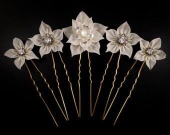 Celeste - Bridal Hairpin Set of 5, Made to Order, Tsumami Zaiku, Kanzashi, Japanese Craft, Boho, Celestial Wedding, Platycodon, Star Swertia