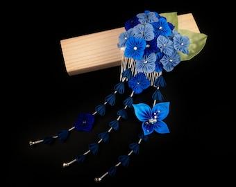 Tsuyu, Enchanting Hydrangea and Butterfly Headpiece with Rain Drops, Tsumami Zaiku Kanzashi, Woodland Wedding, Garden Party, Japanese Craft