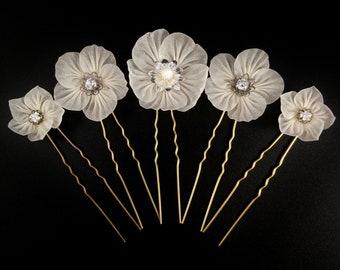 Luna - Bridal Hairpin Set of 5, Made to Order, Tsumami Zaiku, Kanzashi, Boho, Woodland Wedding, Mexican Primrose, Rockrose, Jasmine
