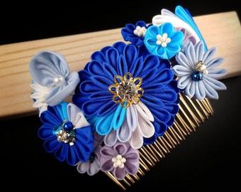 Natsumi - Ocean Wave and Chrysanthemum Headpiece with Seashell, Aster, Daisy, Tsumami Zaiku Kanzashi, Beach Wedding, Geisha, Japanese Craft