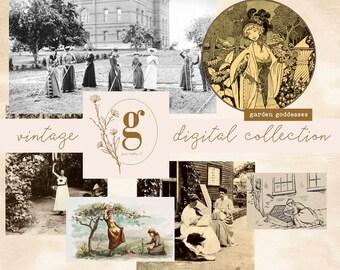Vintage Digital Collecton: Garden Goddesses