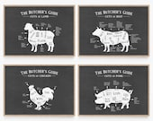 Butcher Cut Prints Set, Kitchen Chart Print Set, Kitchen Printable Set, Butcher Guide, Meat Chart, Meat Diagram, Meat Cuts, Hunting Gifts