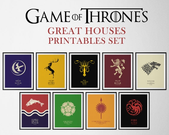 Game Of Thrones Poster Set Game Of Thrones Sigil Wall Etsy