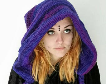 Chunky crochet pixie hood in tones of purple and blue.