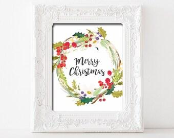 Merry Christmas Printable Wall Art Christmas Decor Merry Christmas Print Merry Christmas Printable Holly Berry Wreath Merry Christmas Print