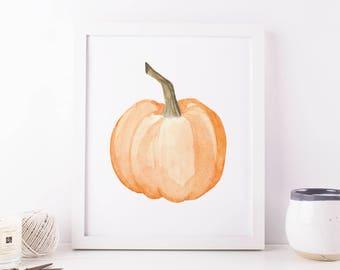 Watercolor Orange Pumpkin Printable Wall Art Fall Decor Print Fall Print Thanksgiving Decor Halloween Printable Pumpkin Print Fall Pumpkin