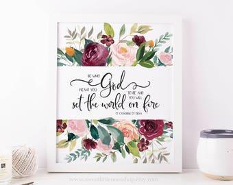 Catherine of Siena Set The World On Fire Printable Wall Art Saint Quote Print Catholic Home Decor Floral Catholic Print Catholic Printable