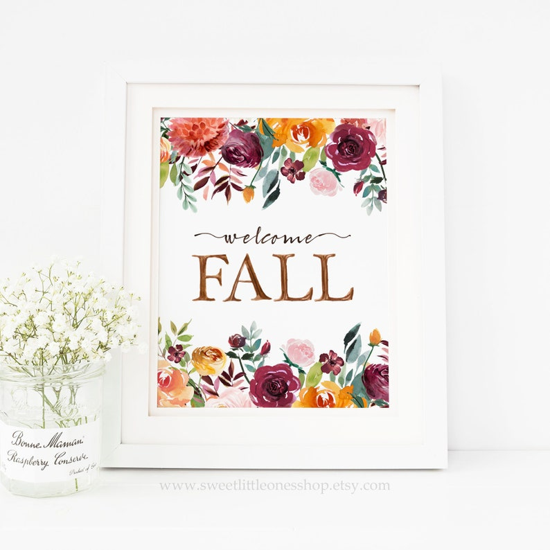 photograph regarding Printable Fall Decorations called Welcome Tumble Printable Wall Artwork Watercolor Tumble Mums Print Welcome Drop Print Drop Print Decor Tumble Decor Tumble Wall Printable Thanksgiving
