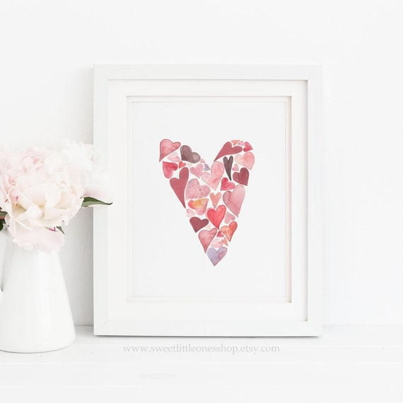 photograph about Printable Valentine Hearts titled Valentines Working day Middle of Hearts Printable Wall Artwork Watercolor Hearts Print Valentine Hearts Print Valentines Working day Decor Crimson Crimson Hearts Print