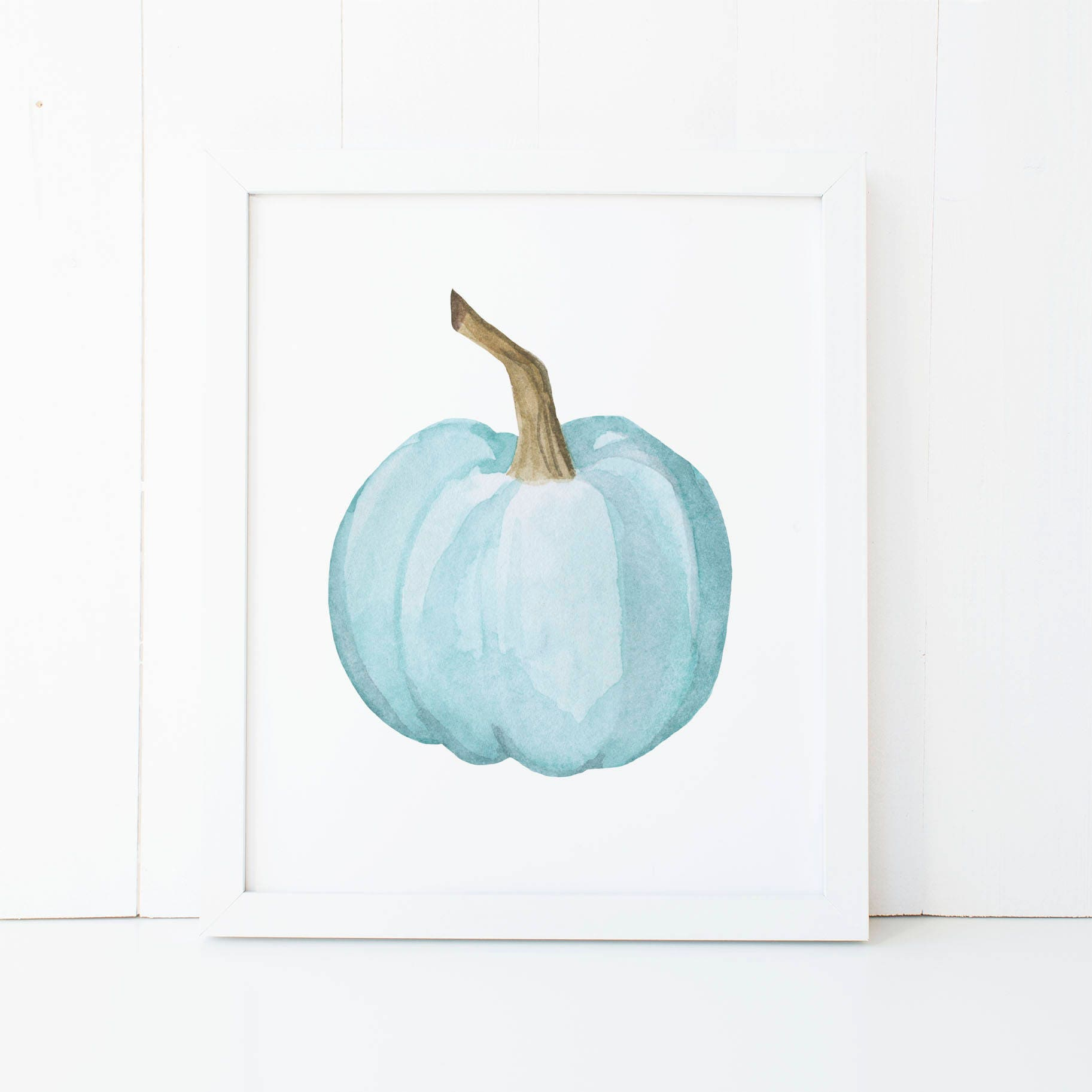 Watercolor Teal Pumpkin Printable Wall Art Fall Decor Fall | Etsy