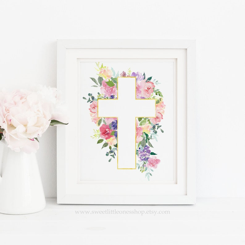 picture regarding Cross Printable named White Easter Cross Printable Wall Artwork Watercolor Easter Bouquets Print Easter Print Easter Decor Easter Cross Print Non secular Easter Cross