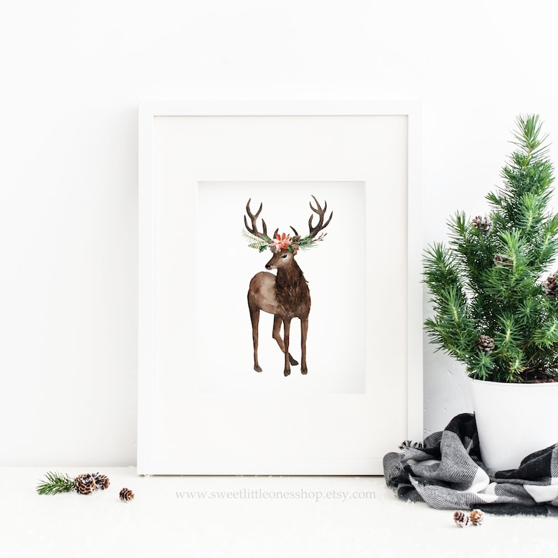 picture relating to Reindeer Printable called Floral Reindeer Printable Wall Artwork Xmas Printable Xmas Print Xmas Reindeer Print Reindeer with Bouquets Print Xmas Decor
