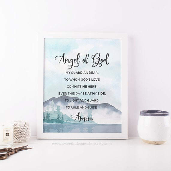 graphic relating to Printable Catholic Prayers identified as Angel of God Printable Wall Artwork Angel of God Prayer Print Mountain Landscape Print Catholic Prayer Print Catholic Household Decor Angel of God
