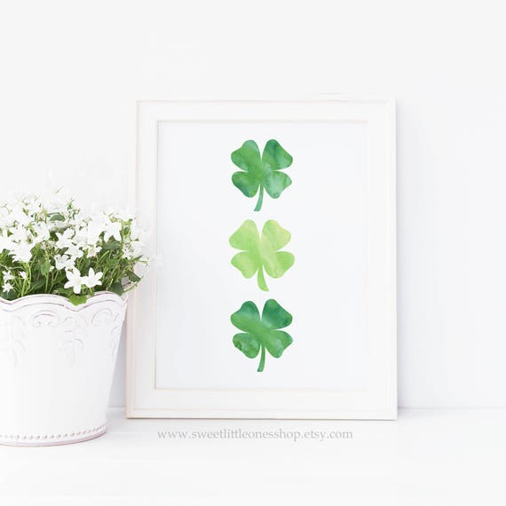 Three Four Leaf Clovers St Patrick's Day Printable Wall Art Green Shamrocks Print St Patricks Day Print Irish Shamrock Print Irish Print Art