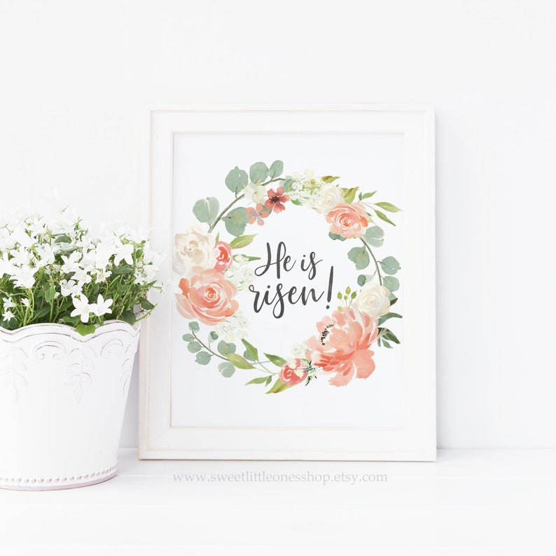 image relating to He is Risen Printable named He Is Risen Printable Wall Artwork Easter Printable Spiritual Easter Print Easter Decor He Is Risen Print Christ Is Risen Print He Is Risen Artwork