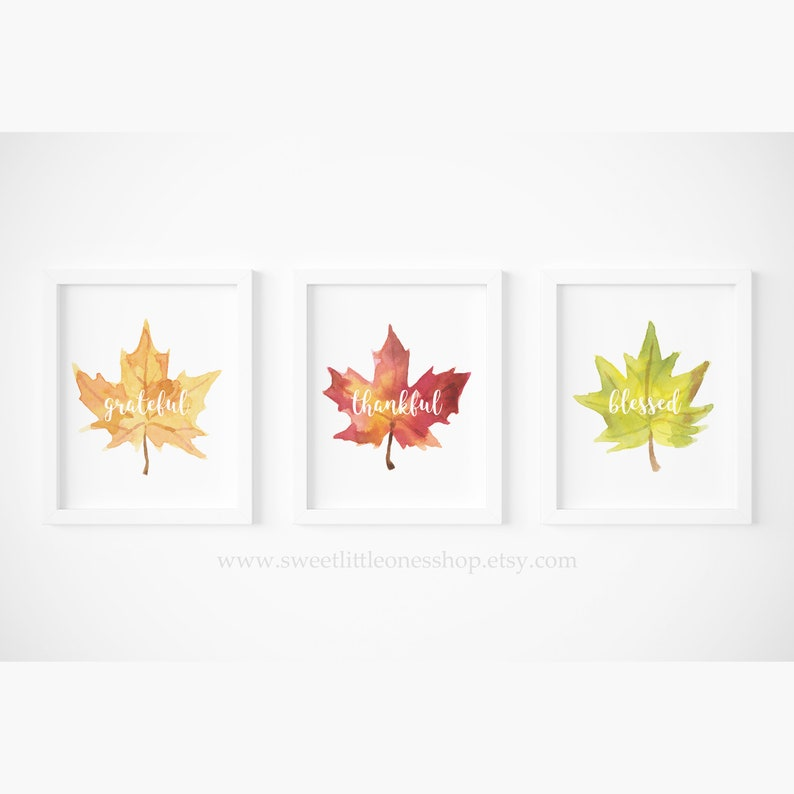 graphic relating to Thankful Leaves Printable named Established of 3 Thankful Grateful Lucky Autumn Leaves Printable Wall Artwork Thanksgiving Decor Thanksgiving Print Tumble Leaf Print Tumble Leaves Decor