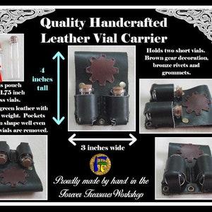 ApothecaryHealer Pouch 2 Vials Brown Leather Gear Handmade Deep Green Leather Bottle Carrier Bronze Rovets /& Grommets