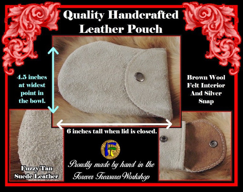 Handmade Creme Suede Leather Pouch With Brown Wool Felt Interior And Silver Snap