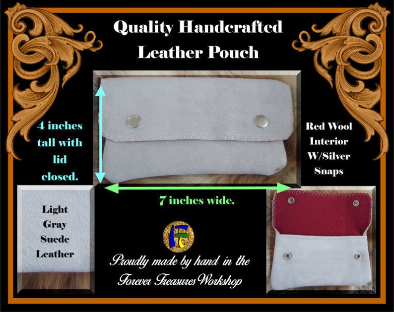 Handmade Light Gray Suede Leather Wallet Pouch With Red Wool Interior and Silver Snaps