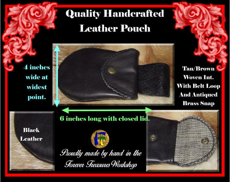And Antiqued Brass Snap Handmade Black Leather Pouch With Belt Loop TanBrown Woven Interior