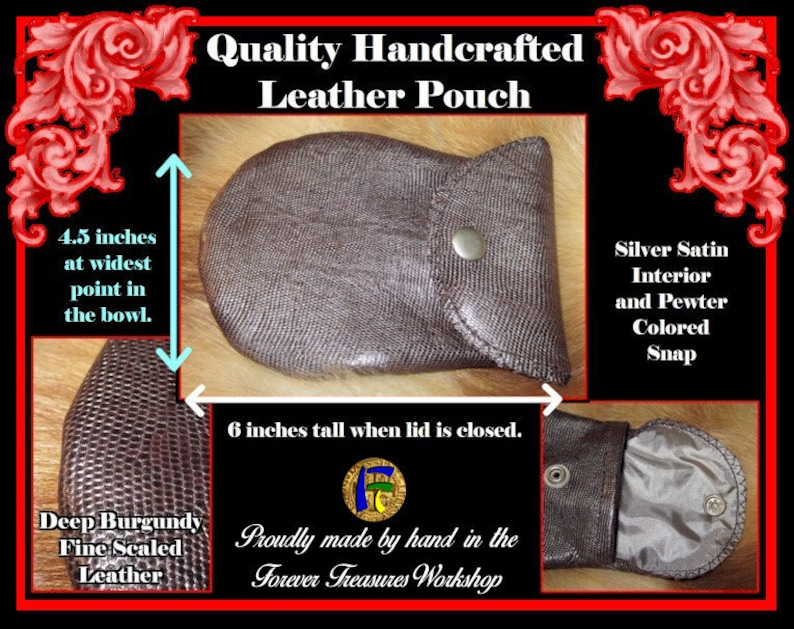 Handmade Deep Burgundy Tiny Scales Leather Pouch With Silver Satin Interior And Steel Snap