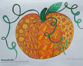 PDF Printable Colouring Page: Pumpkin Doodle
