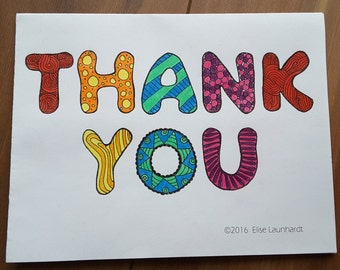 PDF Printable Colouring Card: Thank You