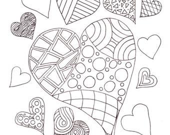 PDF Printable Colouring Page: Multi-Hearts