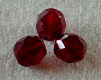 faceted Crystal Beads means 100 3 mm dark red