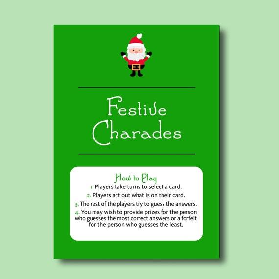 Christmas Charades.Festive Charades Fun Printable Christmas Party Game Printable Christmas Games Printable Christmas Charades Xmas Game Party Charades