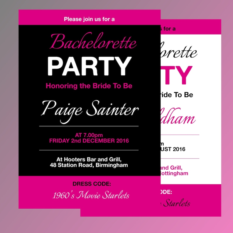 Fully Editable Bachelorette Party Invitation Template