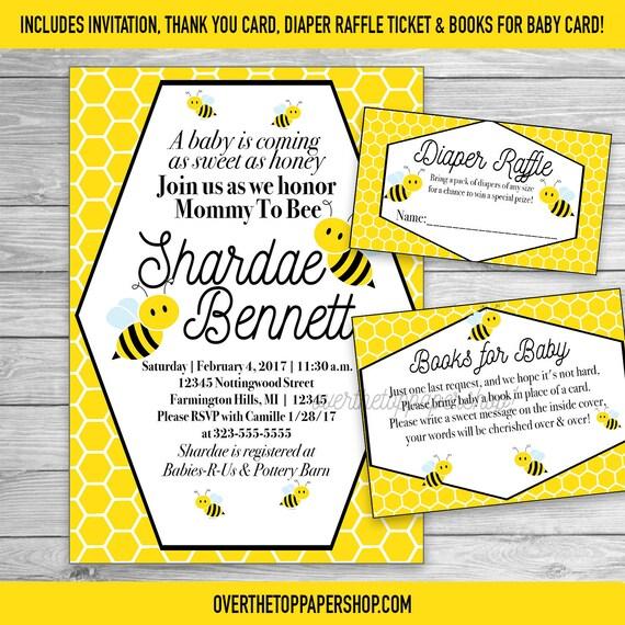 Invitación de Baby Shower de abeja con tarjeta gracias rifa | Etsy