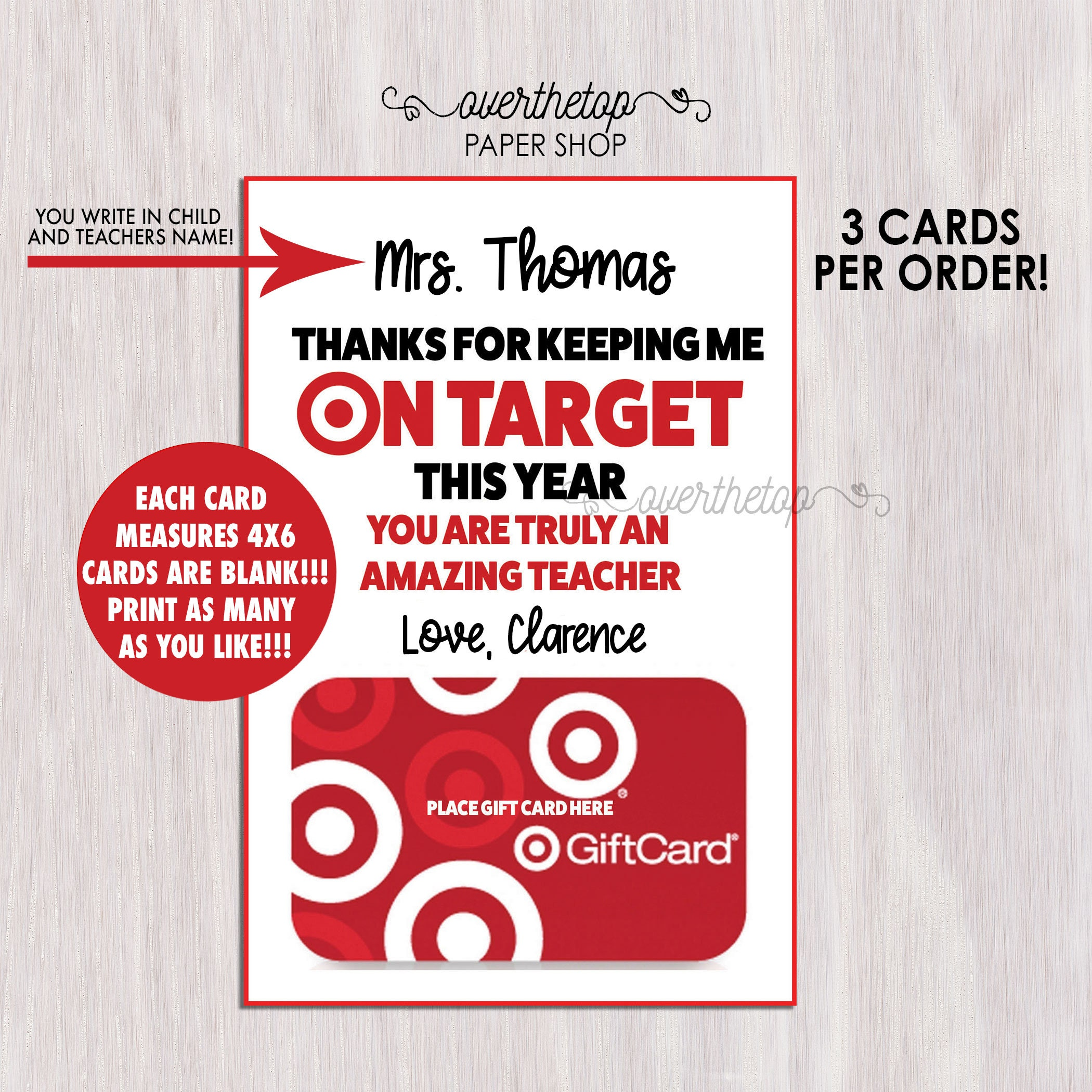 Target teachers Christmas gift card holder Instant Download | Etsy