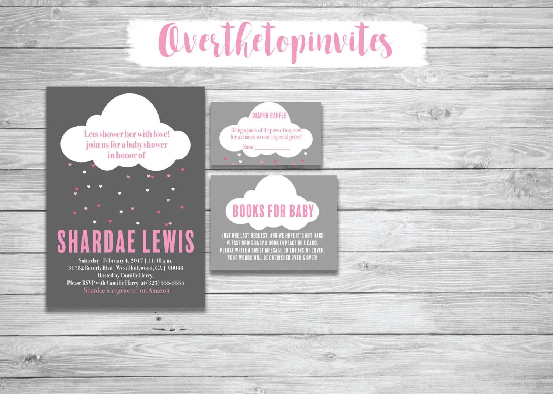 Lluvia de amor invitación de Baby Shower con tarjeta gracias | Etsy