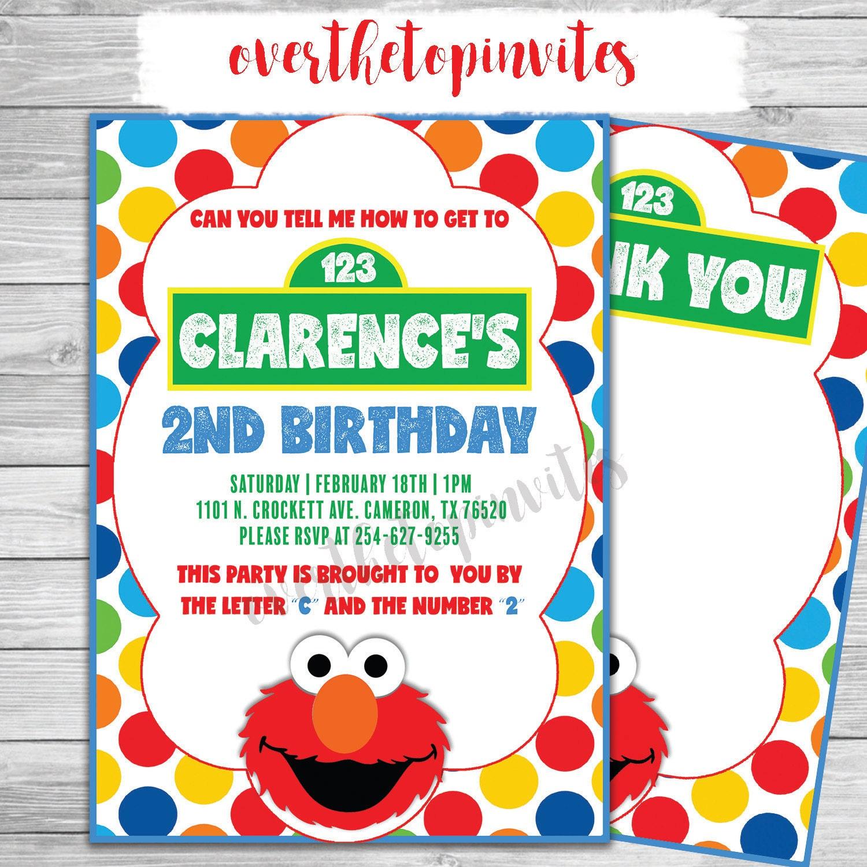 Sesame Street invitación sésamo Elmo fiesta invitación del | Etsy