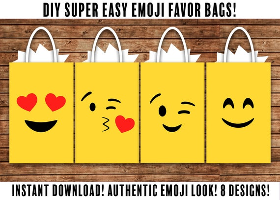 DIY Emoji FAVOR BAGS Party Bags Birthday
