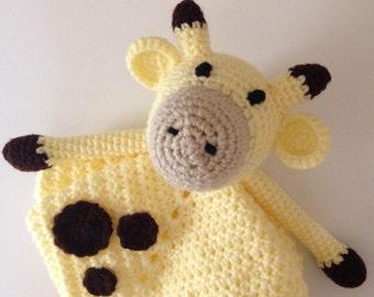 Giraffe Lovey Blanket - Baby Security Blanket - Animal Baby Blanket - Crochet Baby Blanket