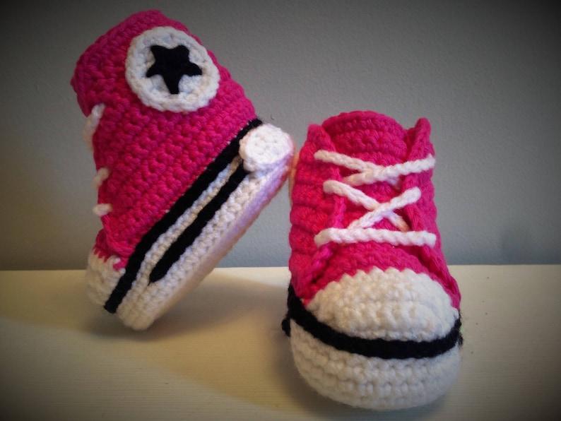 Baby Converse Crochet Baby Booties Crochet Baby Sneakers Etsy