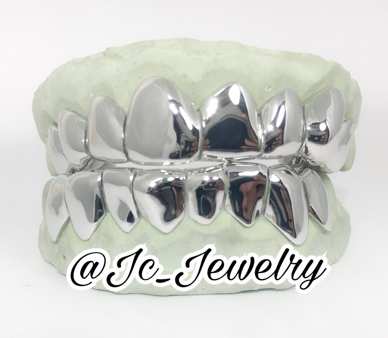 Custom 8   8 Bottom Piece Sterling Silver 14K Gold Grill Solid Gold Slugs  Top and Bottom Silver Grillz 4ff1025f7cf5