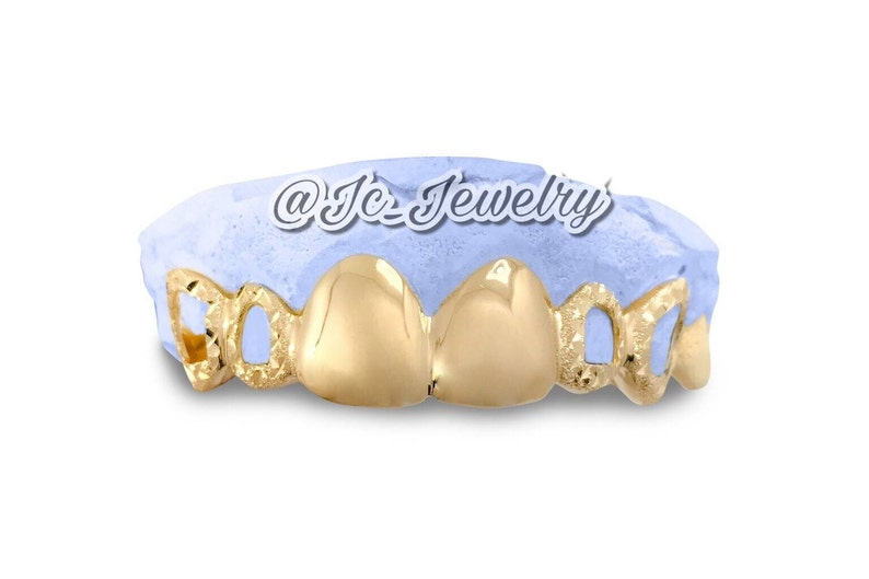 Custom 6 Pc Sold 14K Yellow Gold Grillz Or Plated Gold Teeth 6 Pc Top Or  Bottom Gold Grillz W/ Open Face & Diamond Dust Style