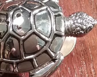 Silver turtle salt shaker, fragrance holder, only one available, plastic plug on bottom, 3 holes on top,