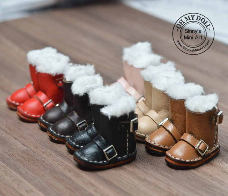 dc7e8d211884 Leather Boots for Blythe  Blythe Boots Miniature Boots Doll