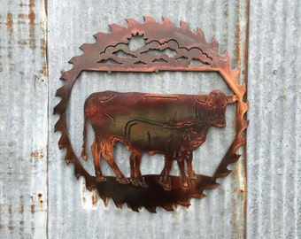 Cow sawblade, farm scene, cow, saw blade, farmer, farm, metal art, country decor, Western, Western Decor, Cattle, Ranch