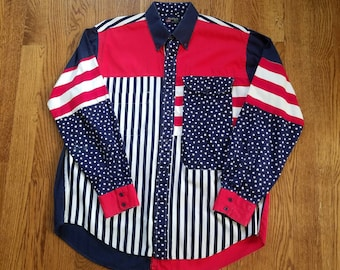 2a46d27ff7 Vtg 90s USA Stars and Stripes Long Sleeve Button Up by Ruddock Bros
